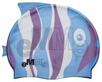 Kinder Badekappe Emme blau/violett Fisch