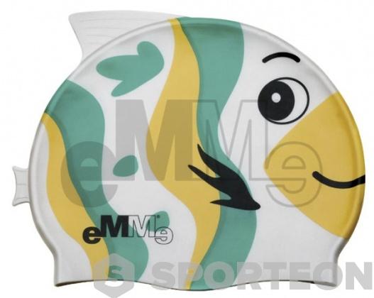 Kinder Badekappe Emme grün/gelb Fisch