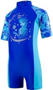 Speedo Disney Frozen All In One Girl Beautiful Blue/Turquoise/Pink Splash
